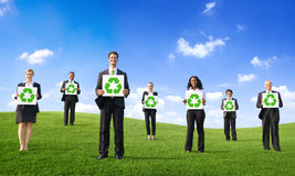 Business People Holding Placard with Recycling Sym Royalty Free Stock Photo