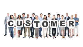 Business People Holding Placards Forming Customer Royalty Free Stock Photos