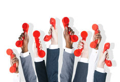 Business People Holding Red Phone Royalty Free Stock Images