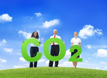 Business People Holding Word Carbon Dioxide Outdoors.  Stock Images
