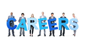 Business People Holding the Word Careers stock images