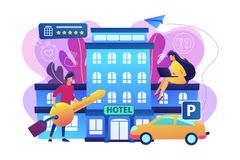 All-inclusive hotel concept vector illustration. Business people at hotel use all included services, lodgings and wifi. All-inclusive hotel, luxury hospitality stock illustration