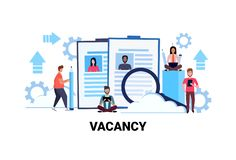 Business people hr searching resume specialist candidate vacancy job business concept flat horizontal teamwork process Royalty Free Illustration
