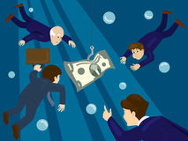 Business people hunt for money  Royalty Free Stock Photo