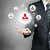 Business people icon network with SHAREHOLDER in the middle Stock Images