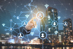 Business people icon networking system. Concept globe technology social network communication Royalty Free Stock Photos