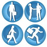 Business People Icons. An illustration featuring a selection of round blue striped business person icons involving common scenes Royalty Free Stock Image