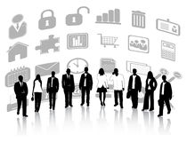 Business people and icons Stock Image