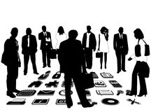 Business people and icons Royalty Free Stock Photos