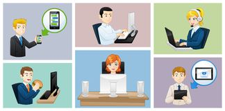 Business people icons avatars - work situations - Illustration. Avatars of Business people at work Stock Image