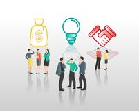 Business people with icons graphics Stock Images