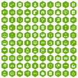 100 business people icons hexagon green. 100 business people icons set in green hexagon vector illustration Royalty Free Illustration