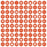 100 business people icons hexagon orange. 100 business people icons set in orange hexagon isolated vector illustration Royalty Free Stock Photo