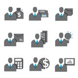 Business people icons. Human resource, business person, business management icons set, blue theme Stock Image