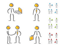 Business people icons scribble. Hand-drawn business people figures with attributes in scribble style. Different colors scheme Stock Photography