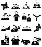 Business people icons set. In black royalty free illustration