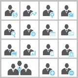 Business people icons. Set of 16 business people icons in black and blue theme Stock Image