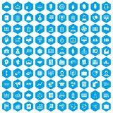 100 business people icons set blue. 100 business people icons set in blue hexagon isolated vector illustration stock illustration