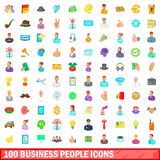 100 business people icons set, cartoon style Stock Photography