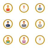 Business people icons set, cartoon style. Business people icons set. Cartoon set of 9 business people vector icons for web isolated on white background Royalty Free Stock Photos