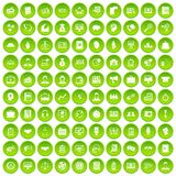 100 business people icons set green circle. Isolated on white background vector illustration Stock Image