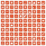 100 business people icons set grunge orange. 100 business people icons set in grunge style orange color isolated on white background vector illustration Royalty Free Stock Images