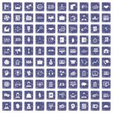 100 business people icons set grunge sapphire. 100 business people icons set in grunge style sapphire color isolated on white background vector illustration Royalty Free Stock Images
