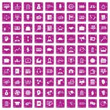 100 business people icons set grunge pink. 100 business people icons set in grunge style pink color isolated on white background vector illustration Stock Images