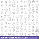 100 business people icons set, outline style. 100 business people icons set in outline style for any design vector illustration Royalty Free Stock Photos