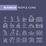 Business people 24 icons set simple line flat illustration.  Stock Image