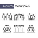 Business people icons set simple line flat illustration.  Royalty Free Stock Photo