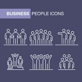 Business people icons set simple line flat illustration.  Royalty Free Stock Photography