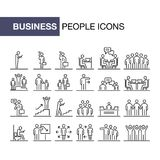 Business people 24 icons set simple line flat illustration.  Royalty Free Stock Photography