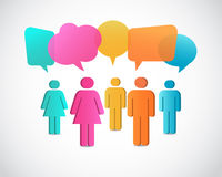 Business people icons with talking speech bubbles. Business people icons with colorful talking speech bubbles Royalty Free Stock Images