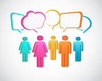 Business people icons with talking speech bubbles. Business people icons with colorful talking speech bubbles Royalty Free Illustration