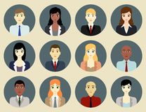 Business people icons. Vector set of rounded business people icons . Editable eps file available Royalty Free Stock Images