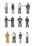 Business people illustrations. A set of illustrations of business people isolated on white background Stock Images