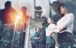Free Business People In Front Of Window Look Far. Future Vision, Teamwork Startup An Partnership Concept. Double Exposure Stock Photos - 162421213