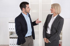 Business People In Suit And Dress Talking Together: Small Talk. Stock Photos