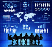 Business People With Infographic Illustration. Group of Business People With Infographic Illustration Above Them stock images
