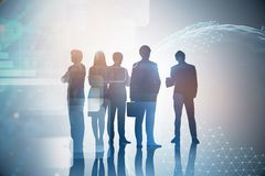 Business people, infographics. Silhouettes of diverse business team members over immersive interface with planet and business infographics. Toned image double stock images
