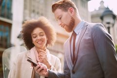 Business people in an informal conversation Royalty Free Stock Image