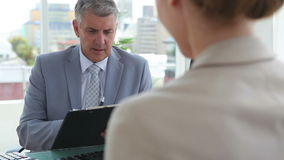 Business people in an interview stock footage