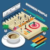 Business People Isometric Concept. Miniature isometric concept with business people talking on phone daily planner credit cards and cup of coffee 3d vector Stock Photo