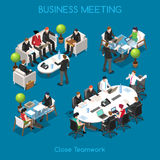 Business 01 People Isometric. Startup Teamwork Brainstorming Business Office Meeting Room. Interacting People Unique Isometric Realistic Poses. NEW bright stock illustration