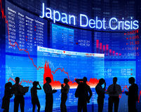 Business People and Japan Debt Crisis Royalty Free Stock Image
