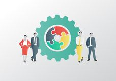 Business people with jigsaw cog Royalty Free Stock Photos
