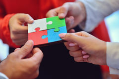 Business People Jigsaw Puzzle Collaboration Team Concept.  Royalty Free Stock Image