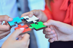 Business People Jigsaw Puzzle Collaboration Team Concept.  Royalty Free Stock Photo
