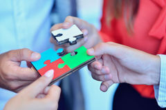 Business People Jigsaw Puzzle Collaboration Team Concept Stock Photos